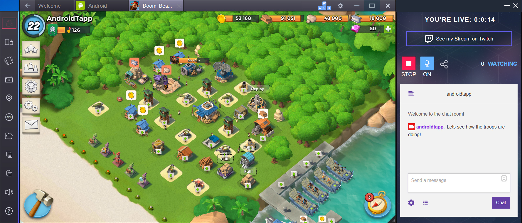 One Click Streaming to Twitch on BlueStacks