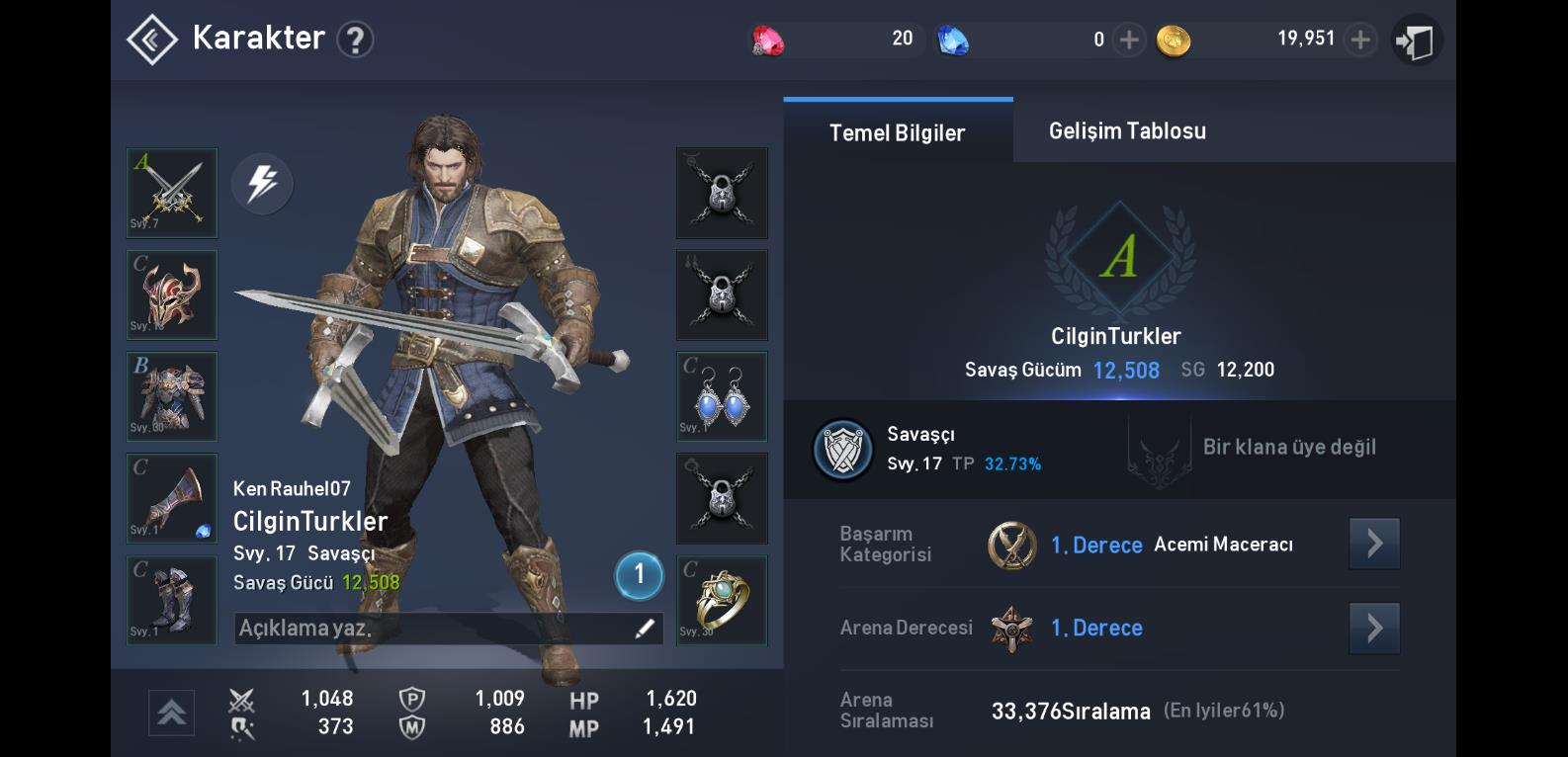 Lineage 2 Character Stats Tr