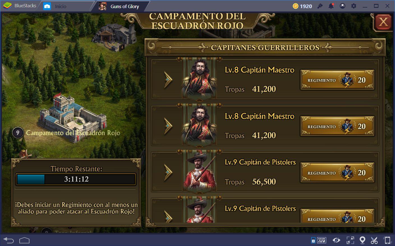 Cómo Atacar Campamentos del Escuadrón Rojo en Guns of Glory
