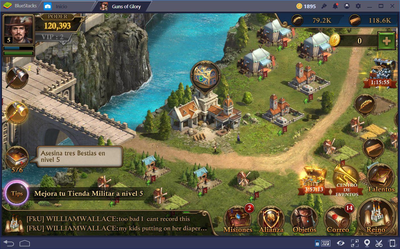 Guns of Glory: Aprende Acerca de las Pantallas de Nación y Mapa del Reino
