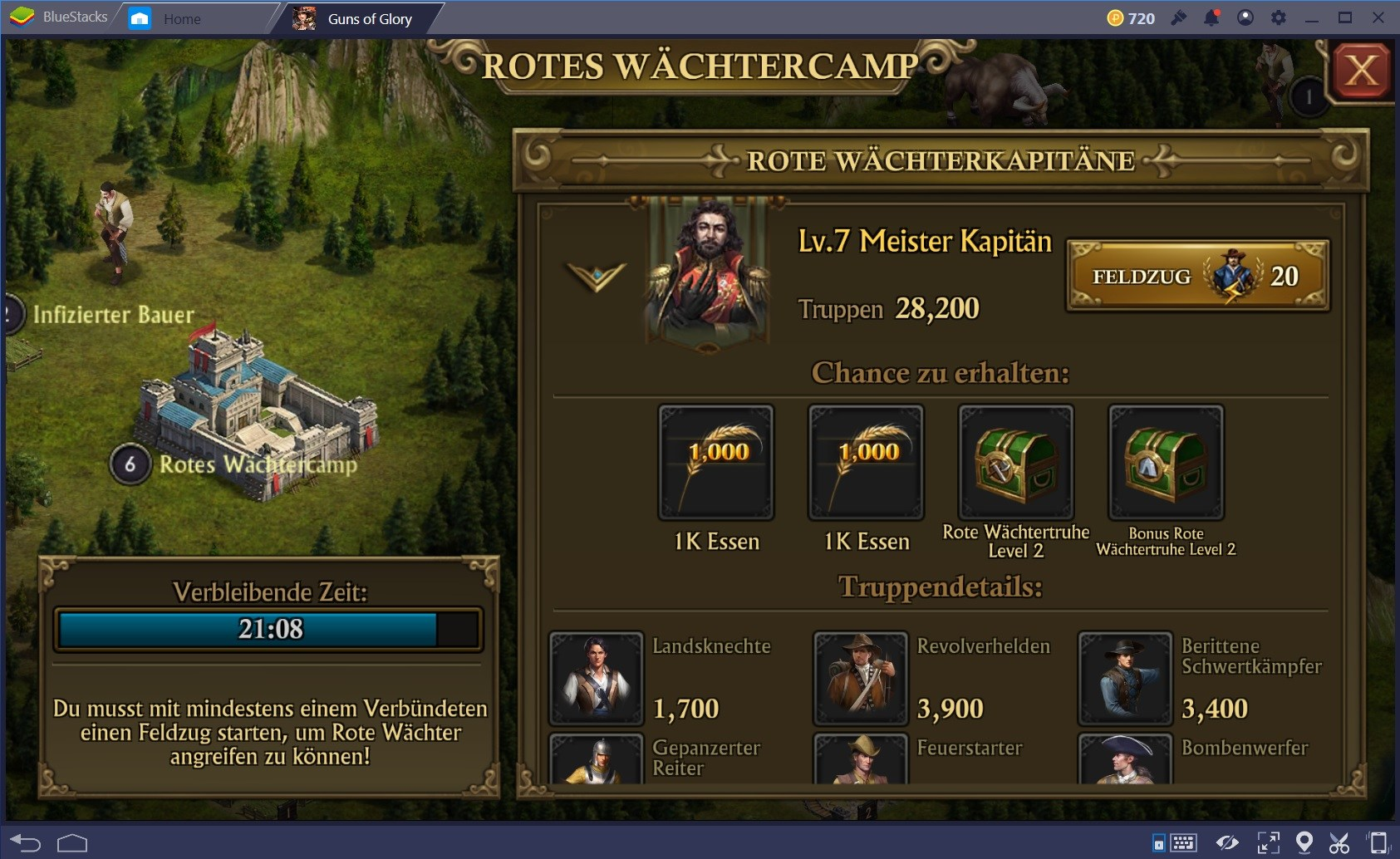 Wie man das rote Wächtercamp in Guns of Glory angreift