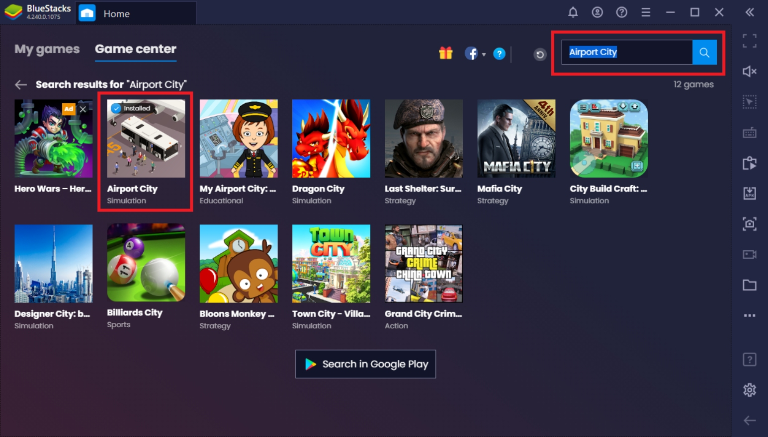 Cara Bermain Airport City di PC dengan BlueStacks