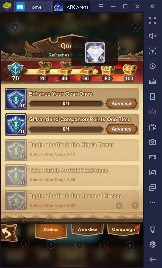 AFK Arena on PC: Daily To-Do List