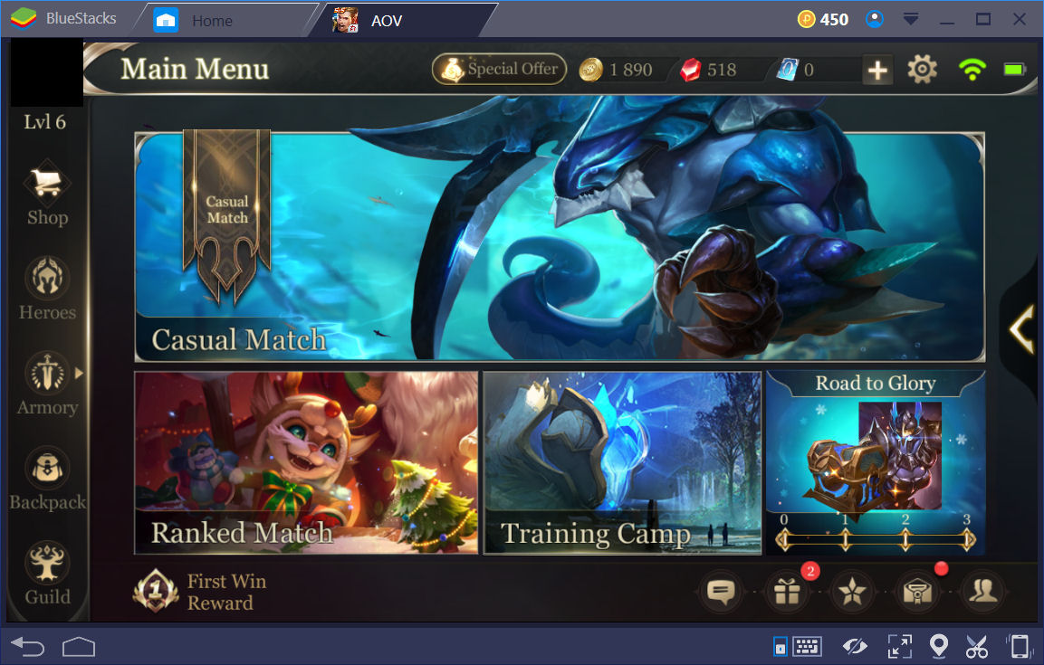 AOV Main Screen