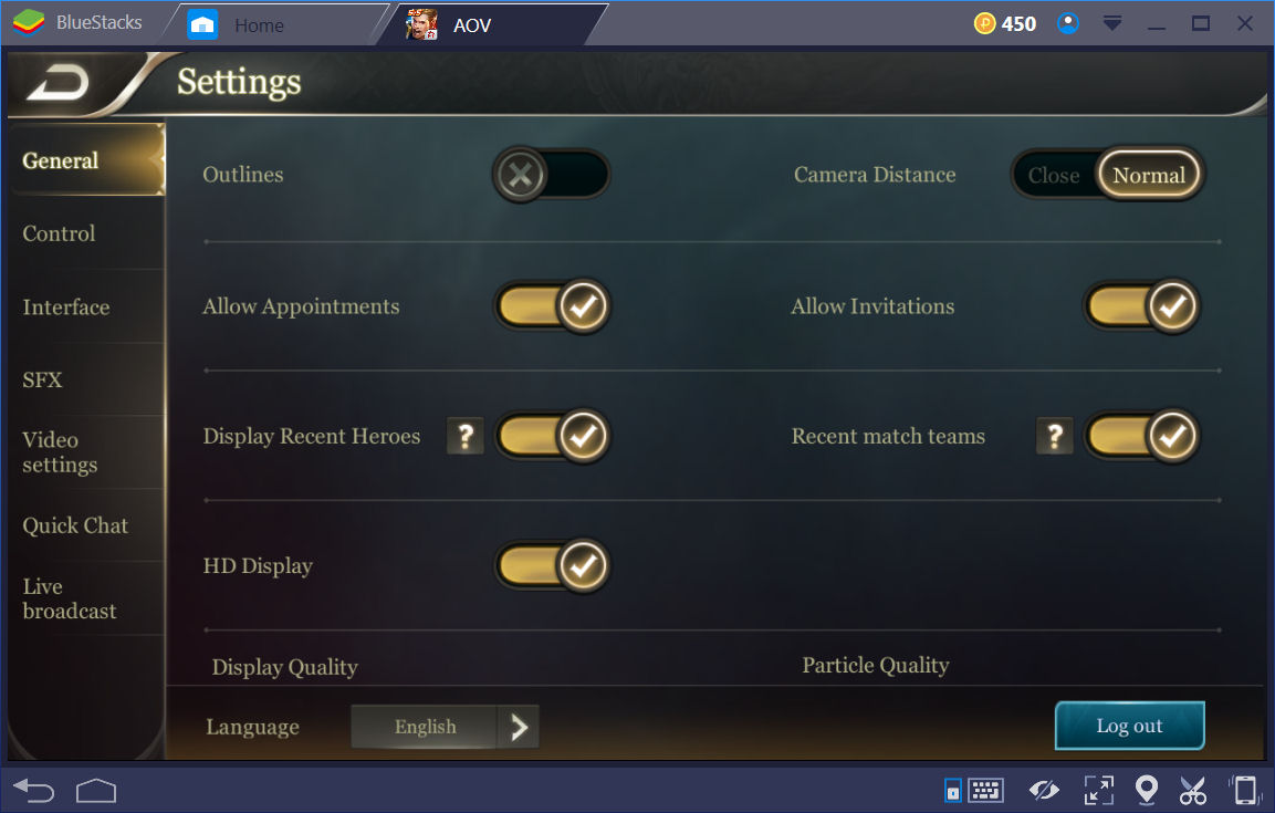 AOV Settings