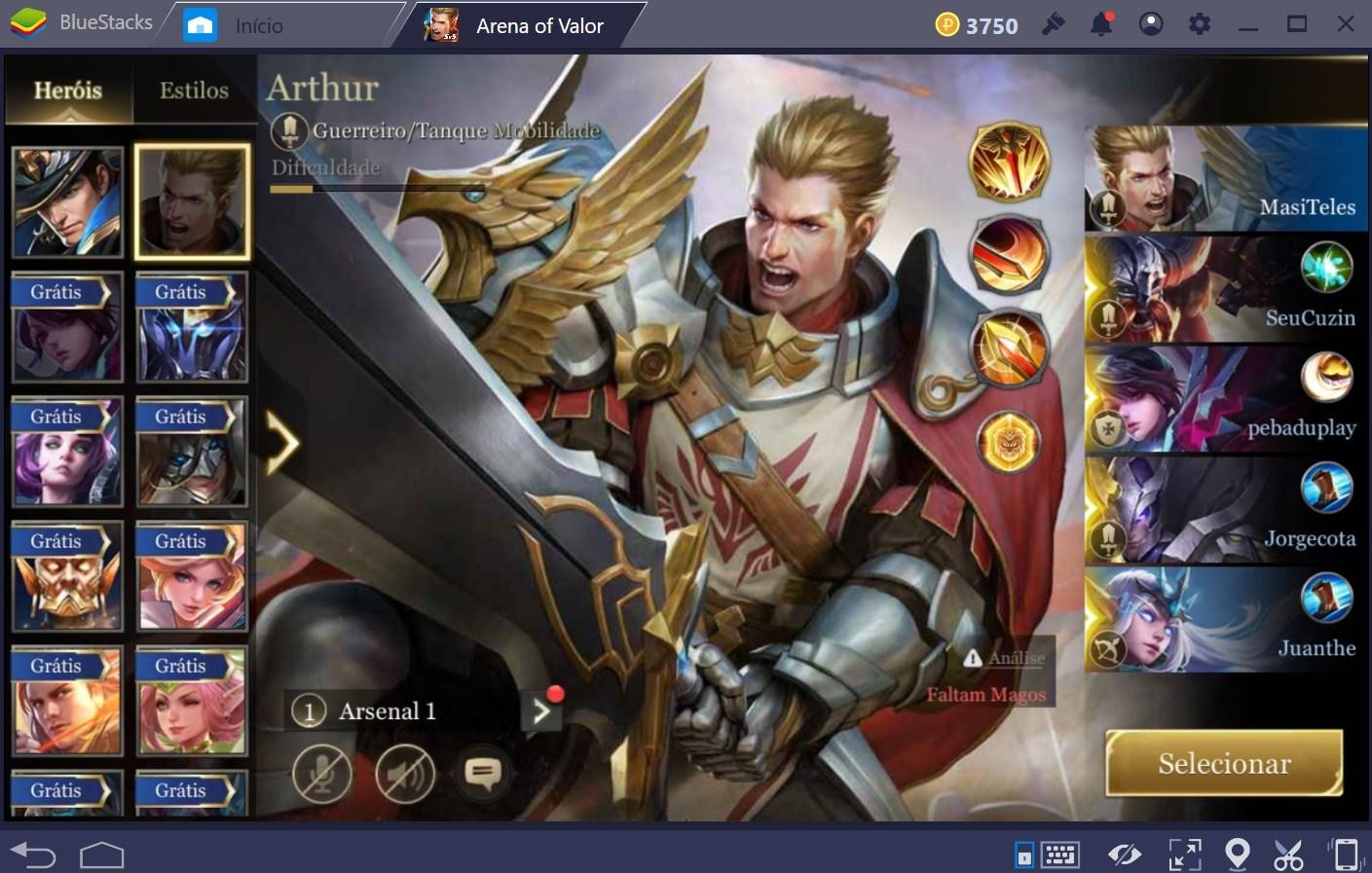 Top 5 guerreiros em Arena of Valor