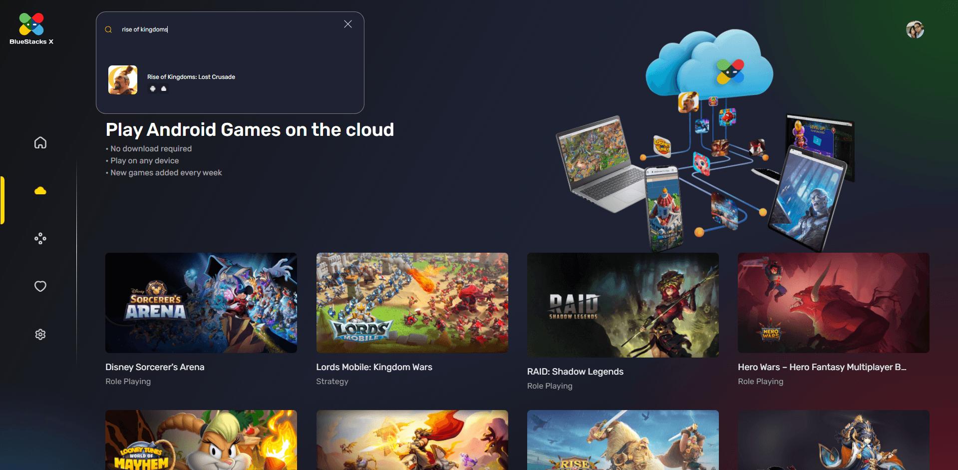 So spielst du Rise of Kingdoms in der Cloud mit BlueStacks X
