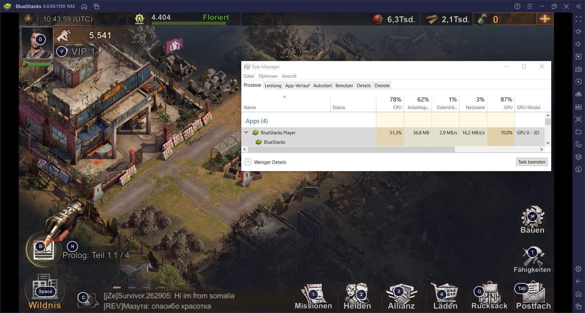 Das BlueStacks 5 Trim-Speicher-Feature garantiert verzögerungsfreies Spielen mit kleinstmöglicher RAM-Nutzung