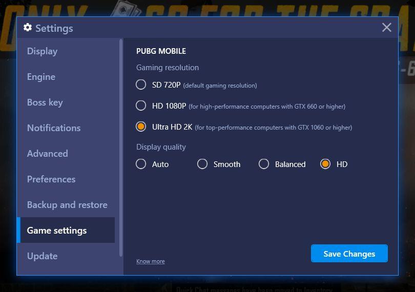 BlueStacks Update: Play PUBG Mobile with HD(1080p) / Ultra HD (2K) Display