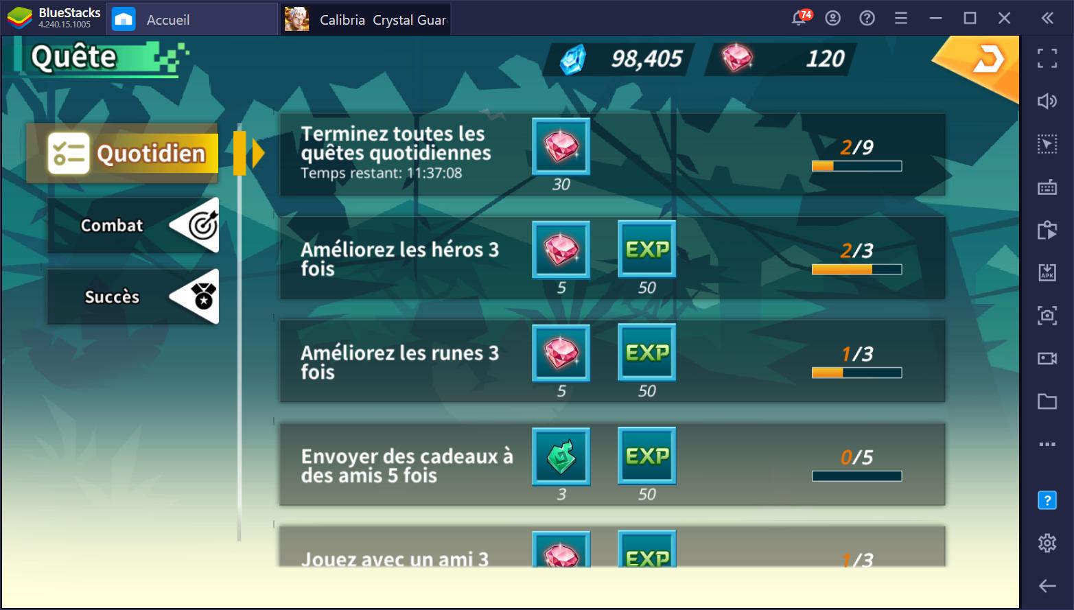 Calibria: Crystal Guardians – liste des tâches quotidiennes pour les joueurs actifs