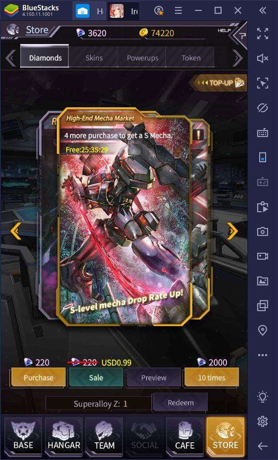 Comment faire du reroll pour débloquer les meilleurs mechas dans Iron Saga - Battle Mecha sur PC