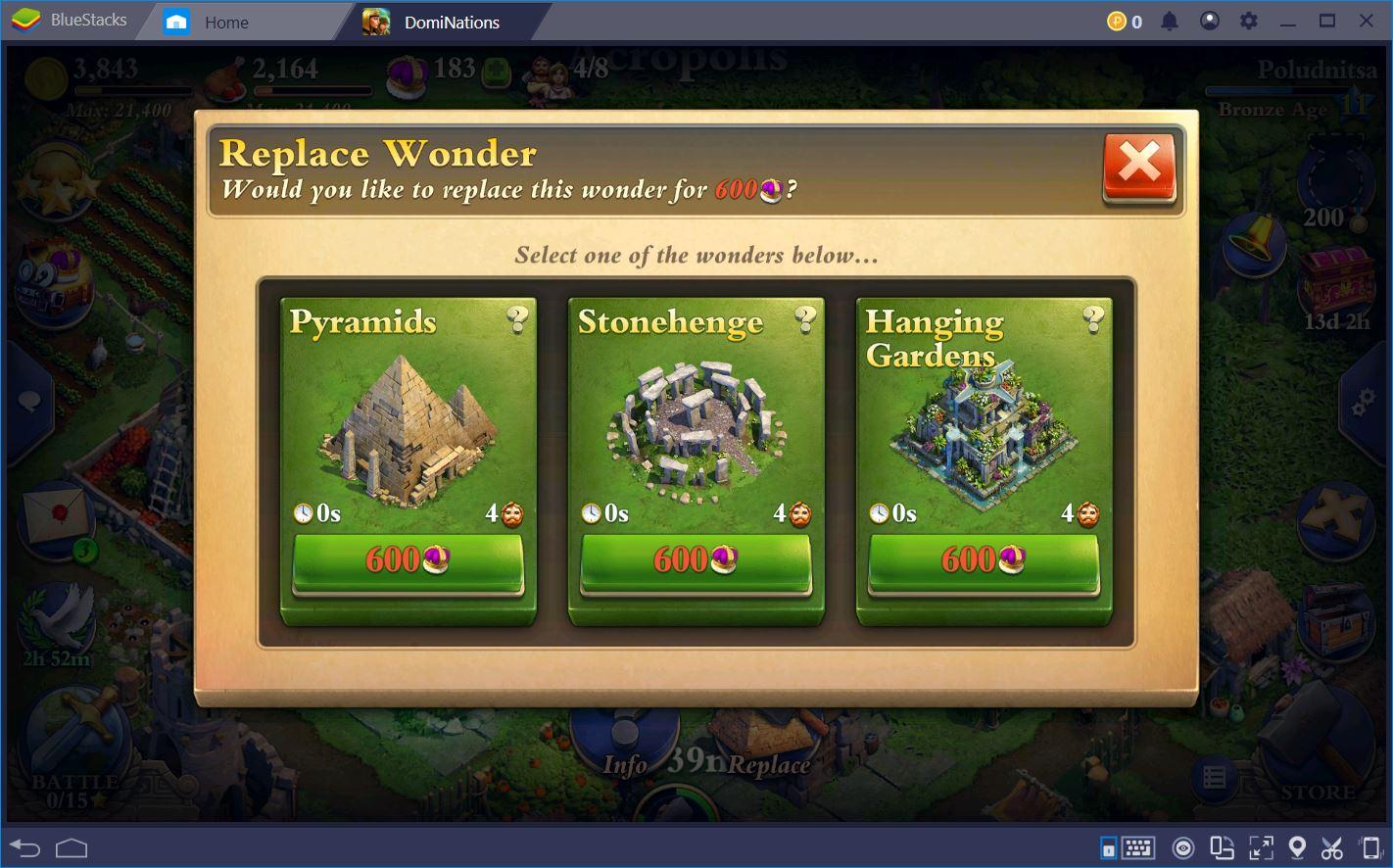 DomiNations: Choosing the Best Wonders