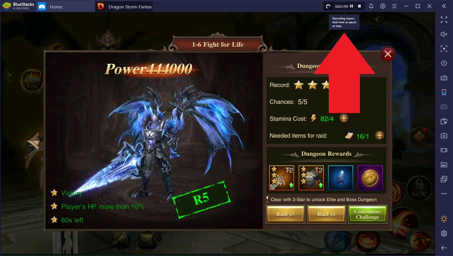 Dragon Storm Fantasy Gold-Farming – BlueStacks benutzen, um Gold automatisch zu erzeugen