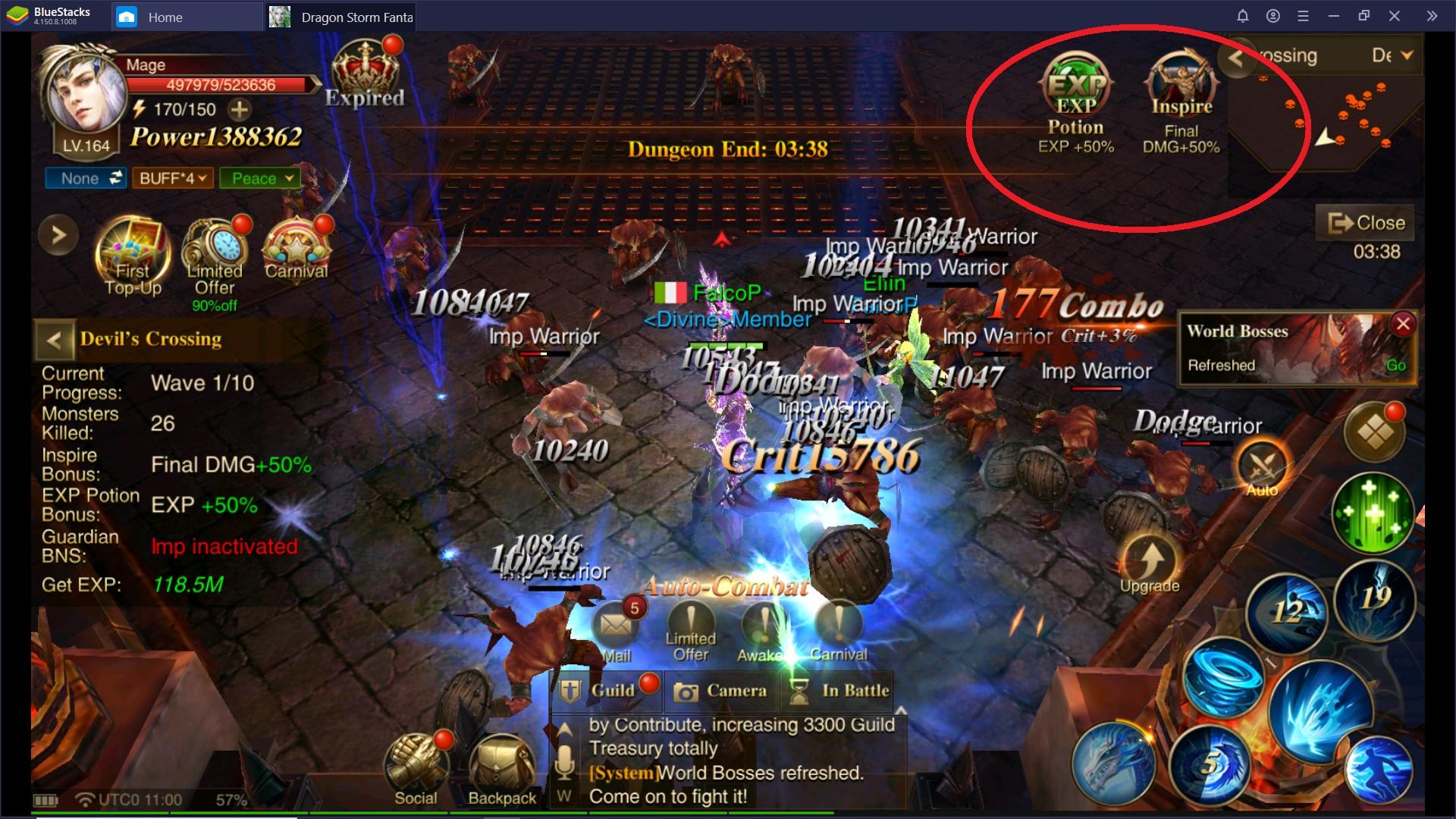 Come fare Level Up rapidamente in Dragon Storm Fantasy