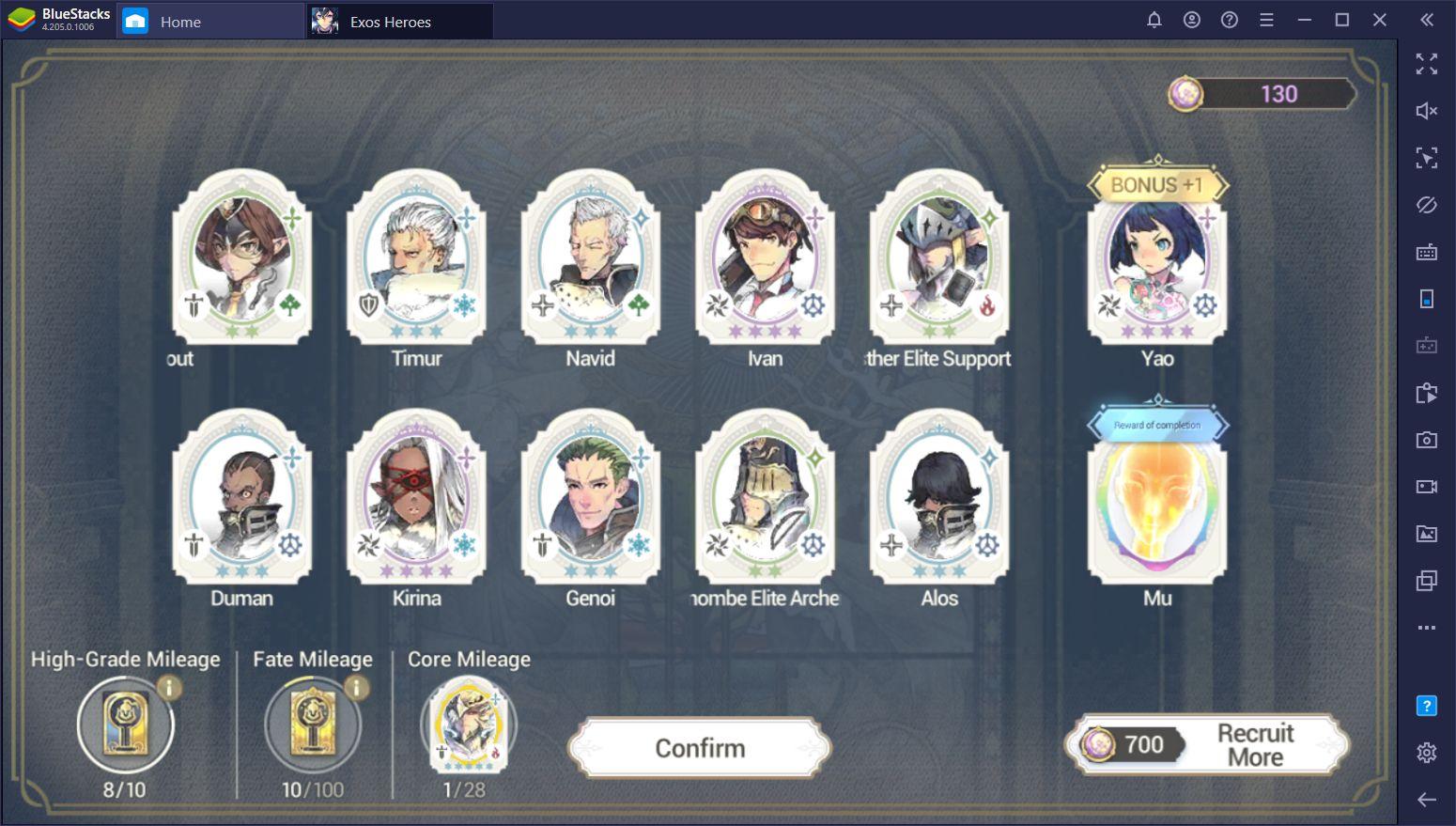 Le reroll dans Exos Heroes - Invoquer les meilleurs personnages du jeu