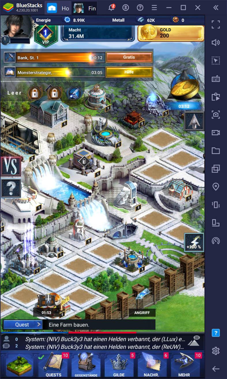 Final Fantasy XV: A New Empire – Baue mit BlueStacks ein herrliches neues Imperium auf