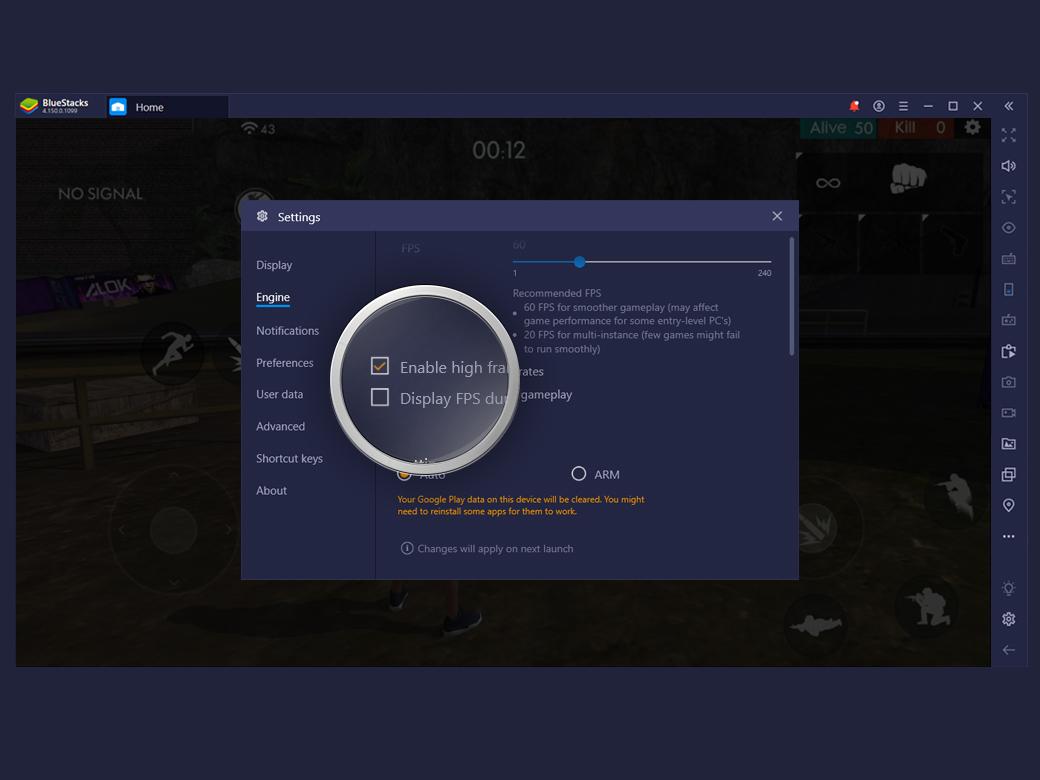 nhấn chọn ô 'Kích hoạt tốc độ khung hình cao để điều chỉnh FPS. Tuy nhiên, FPS cũng phụ thuộc vào cấu hình PC của bạn