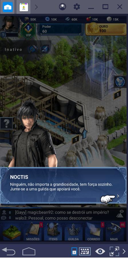 Começando a sua aventura em Final Fantasy XV: A New Empire.