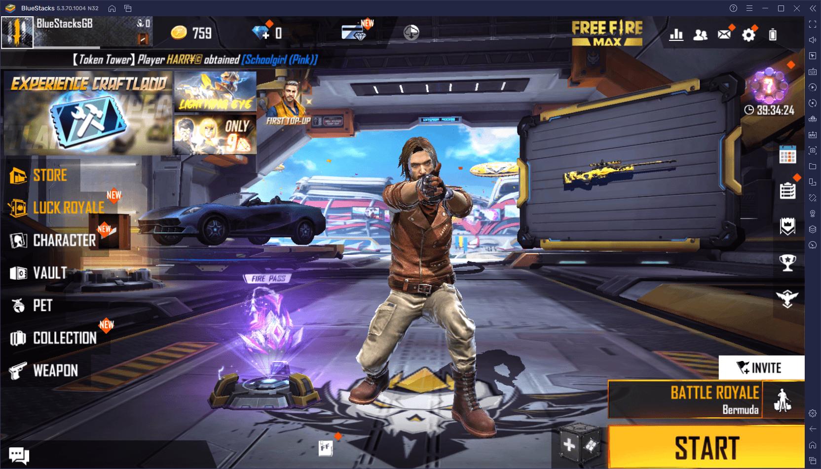 لعبة Free Fire MAX على جهاز الكمبيوتر – استخدم محاكي BlueStacks للحصول على إصابات في الرأس و الـ Booyahs