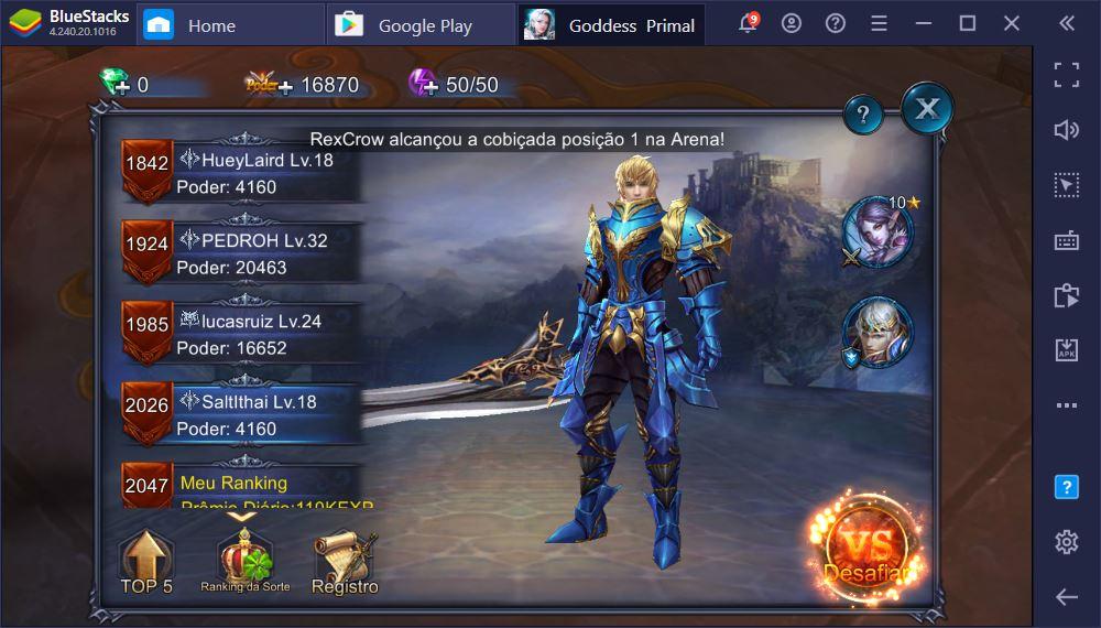 Modos de jogos disponíveis em Goddess: Primal Chaos
