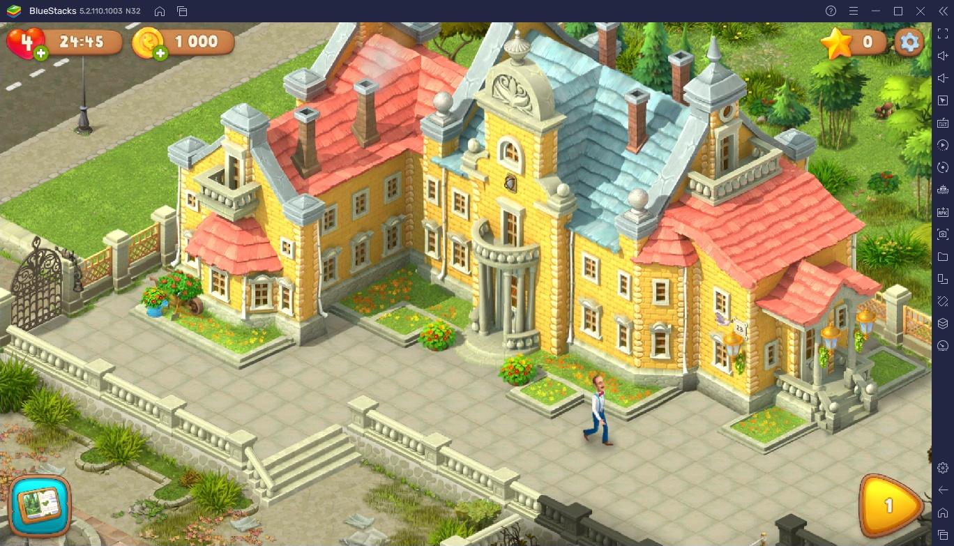 Запуск Gardenscapes на ПК с помощью BlueStacks