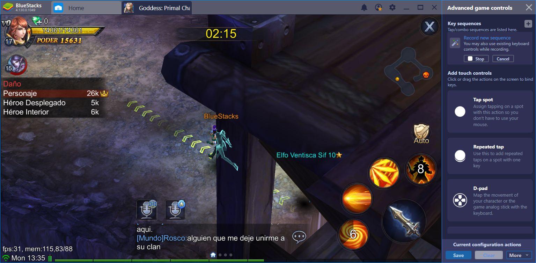 Jugando Goddess: Primal Chaos en BlueStacks: ¡Automatiza Todo!