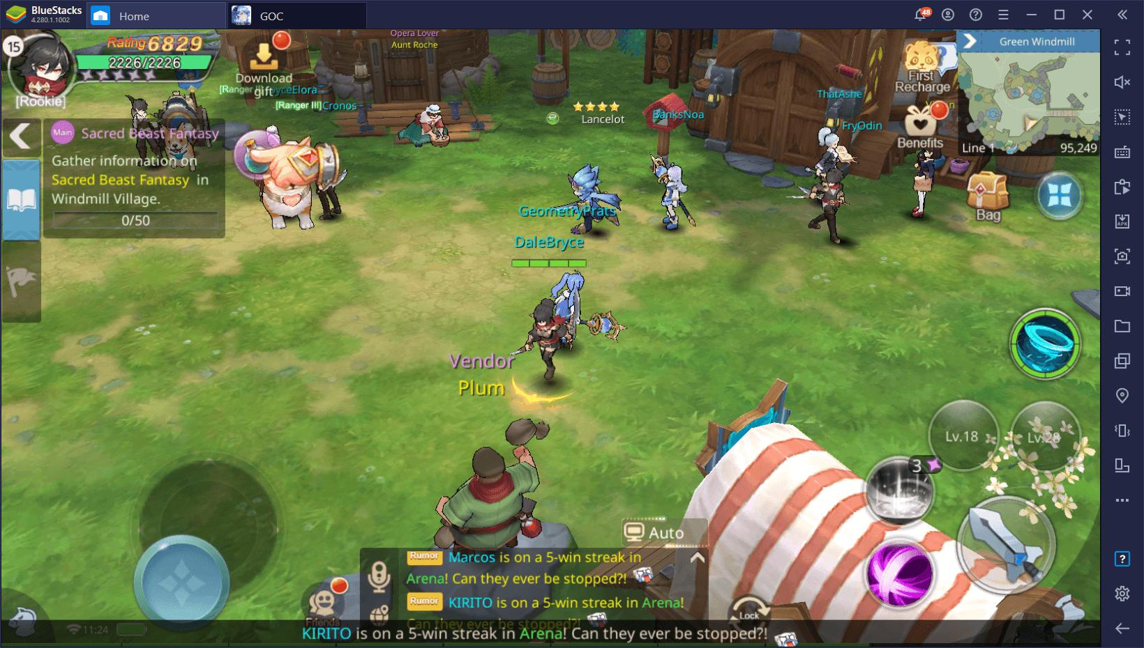 Преимущества эмулятора BlueStacks для игры Guardians of Cloudia