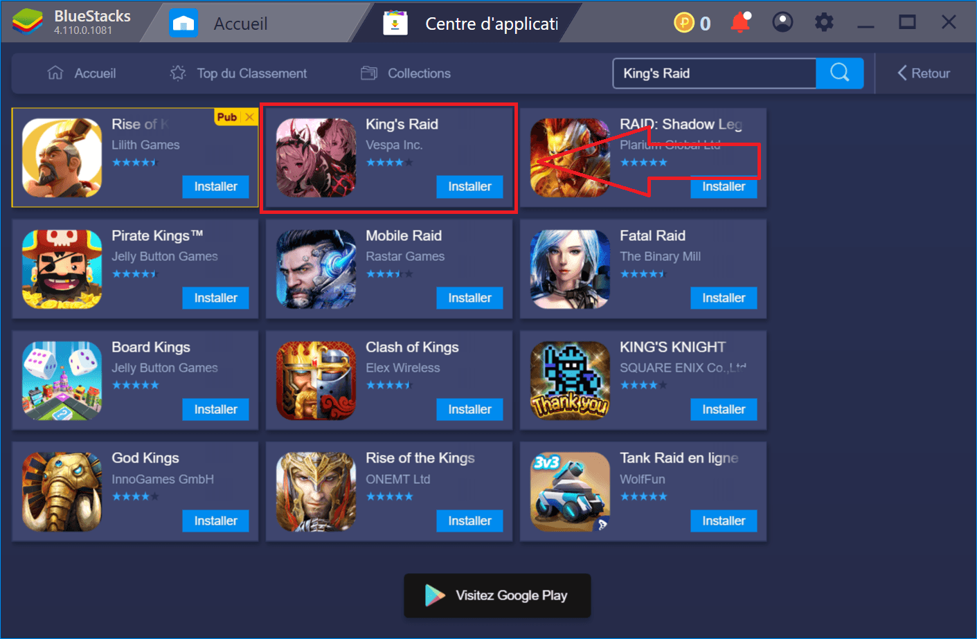 Guide d'installation et de configuration de BlueStacks pour King's Raid