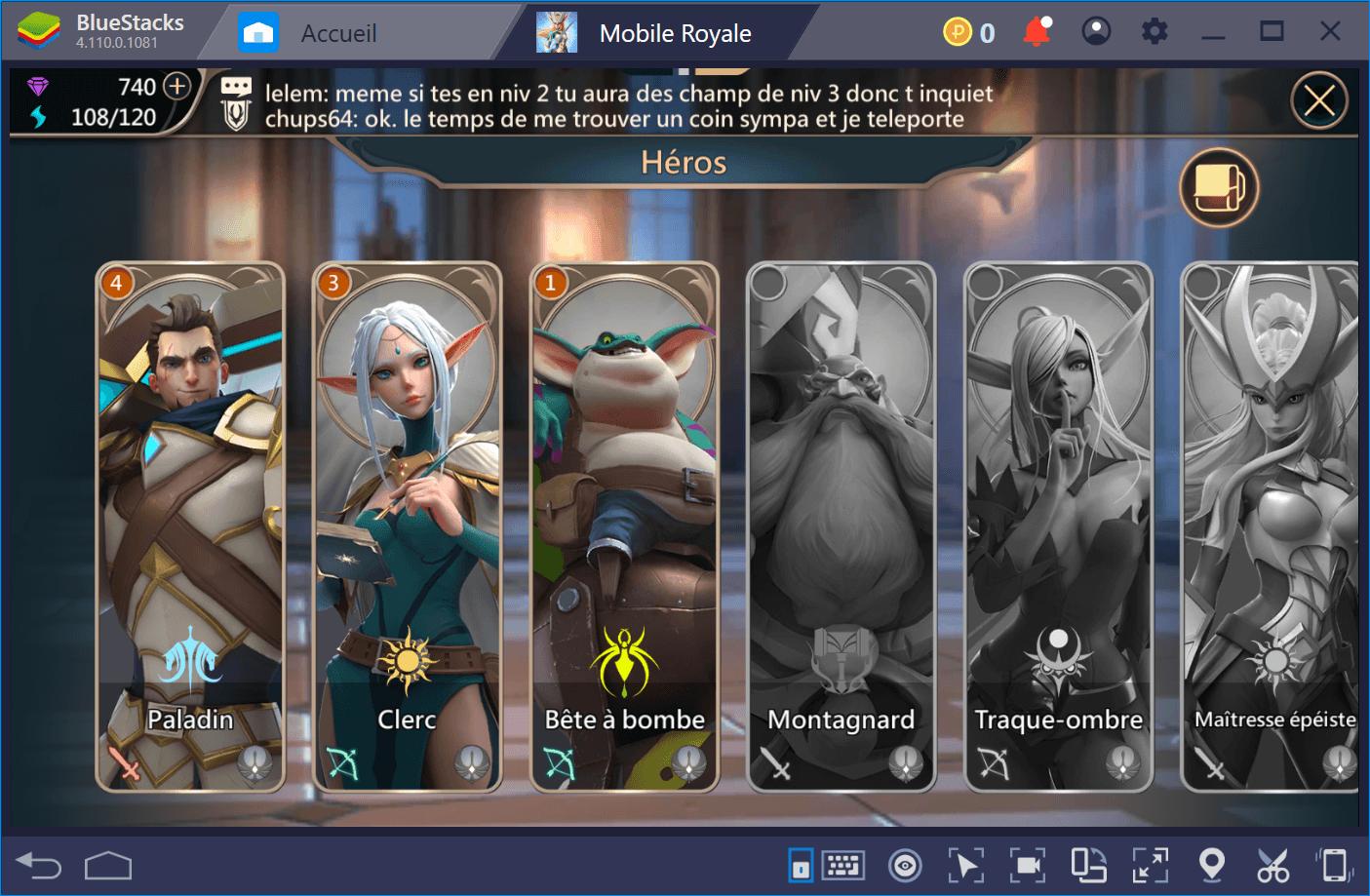 Guide sur les héros de Mobile Royale : Invocation et leveling