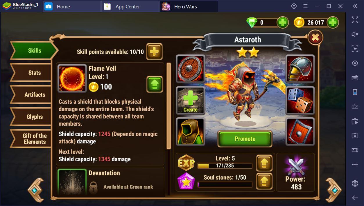 Hero Wars على جهاز الكمبيوتر – قائمة مستويات الأبطال المحدثة