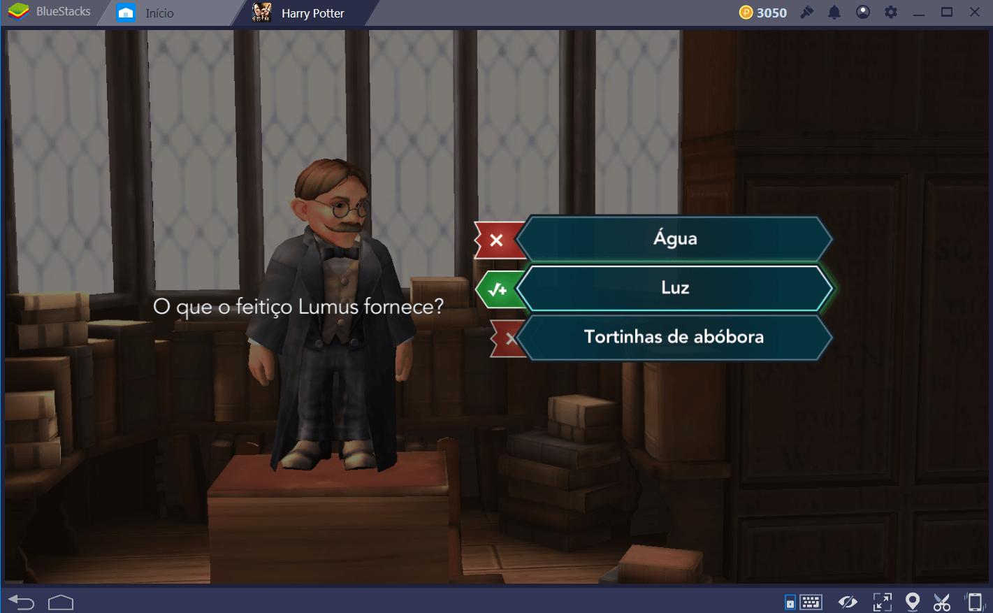 Guia dos quizzes em Harry Potter: Hogwarts Mystery
