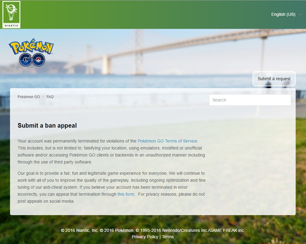How to submit a ban appeal for Pokémon GO?