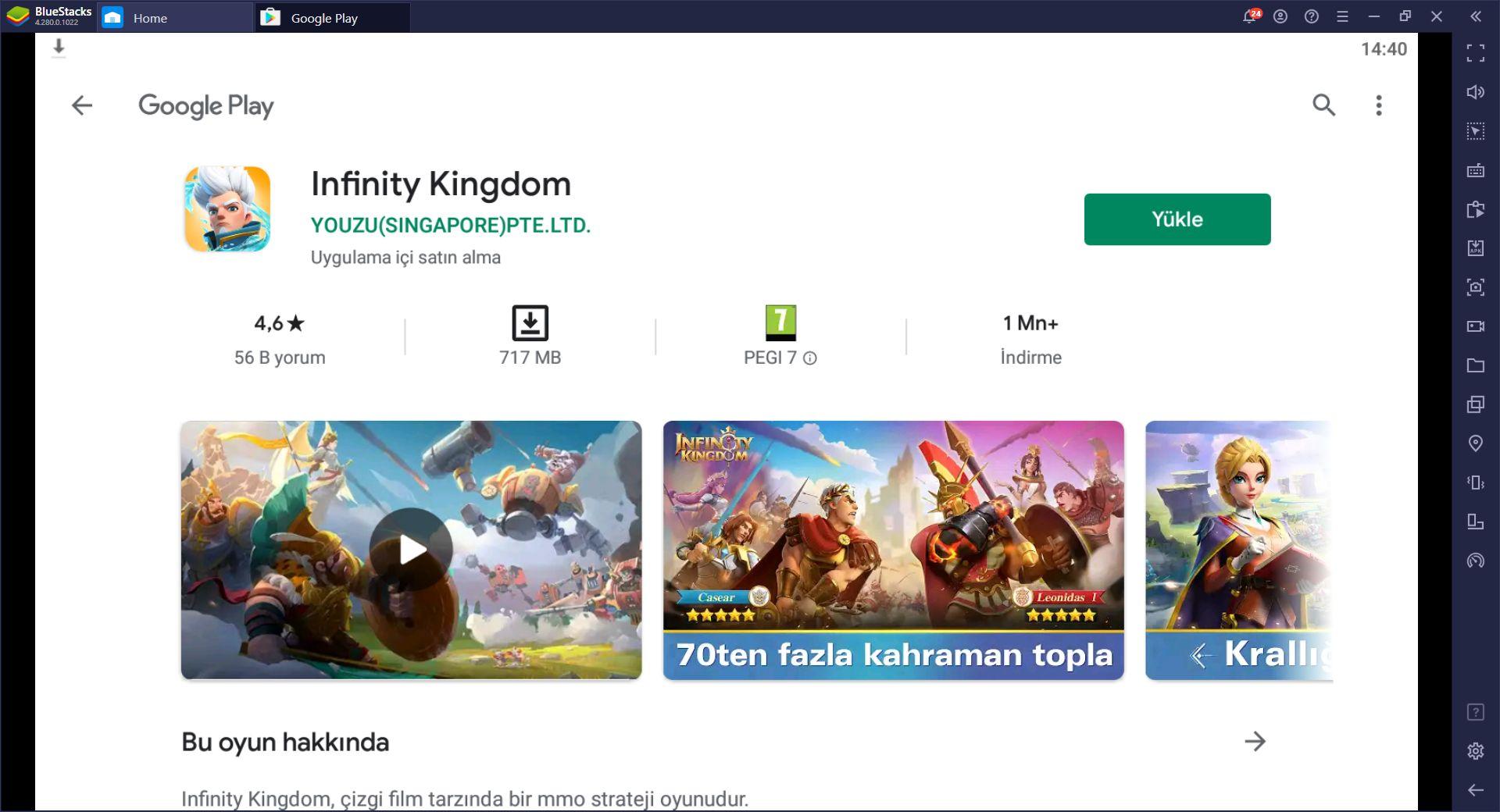 Infinity Kingdom, BlueStacks ile Bilgisayarda Nasıl Oynanır?