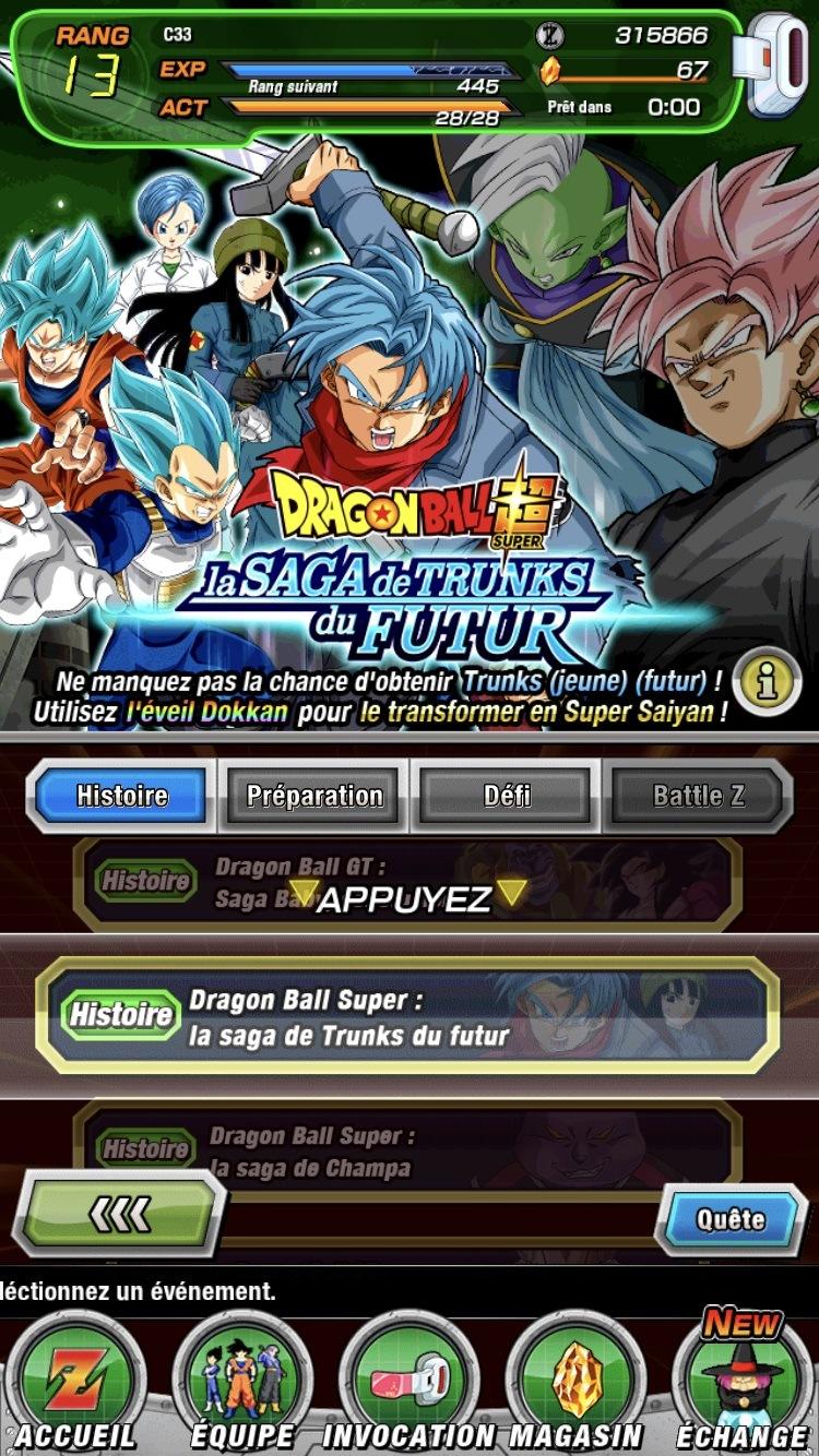 Dragon Ball Z Dokkan Battle: Quêtes et événements