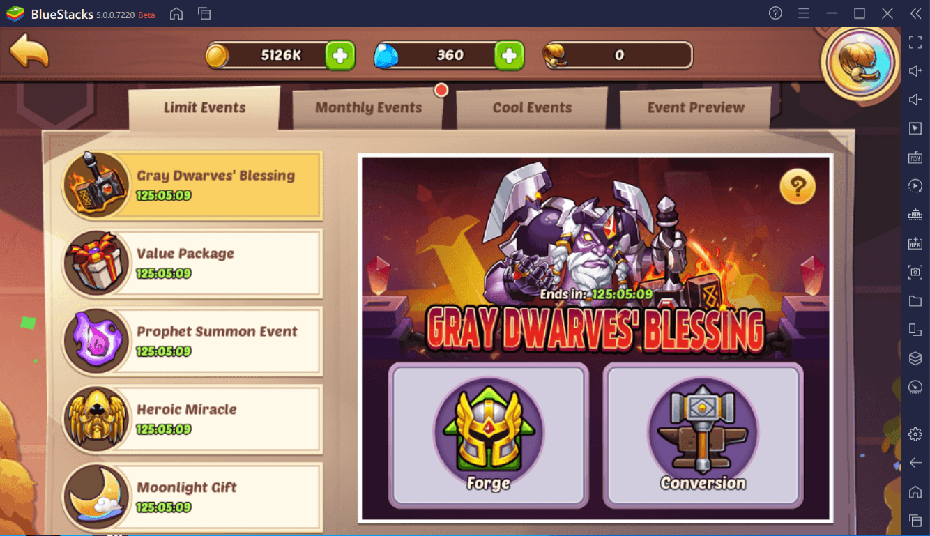 Idle Heroes – Prophet Orb Event, Heroic Miracle, Moonlight Gift, and Gray Dwarf's Blessing