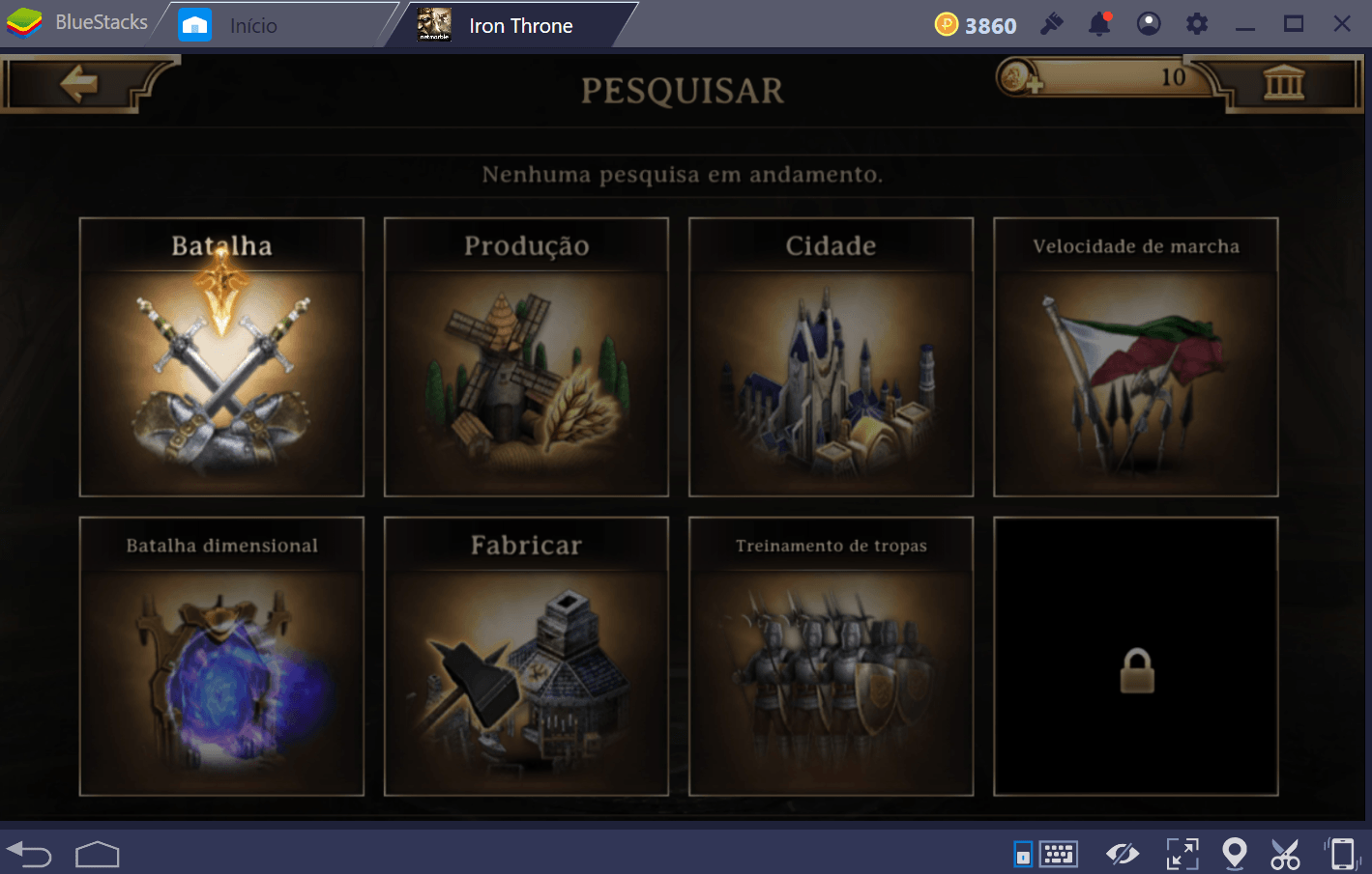Guia de pesquisa e equipamentos em Iron Throne