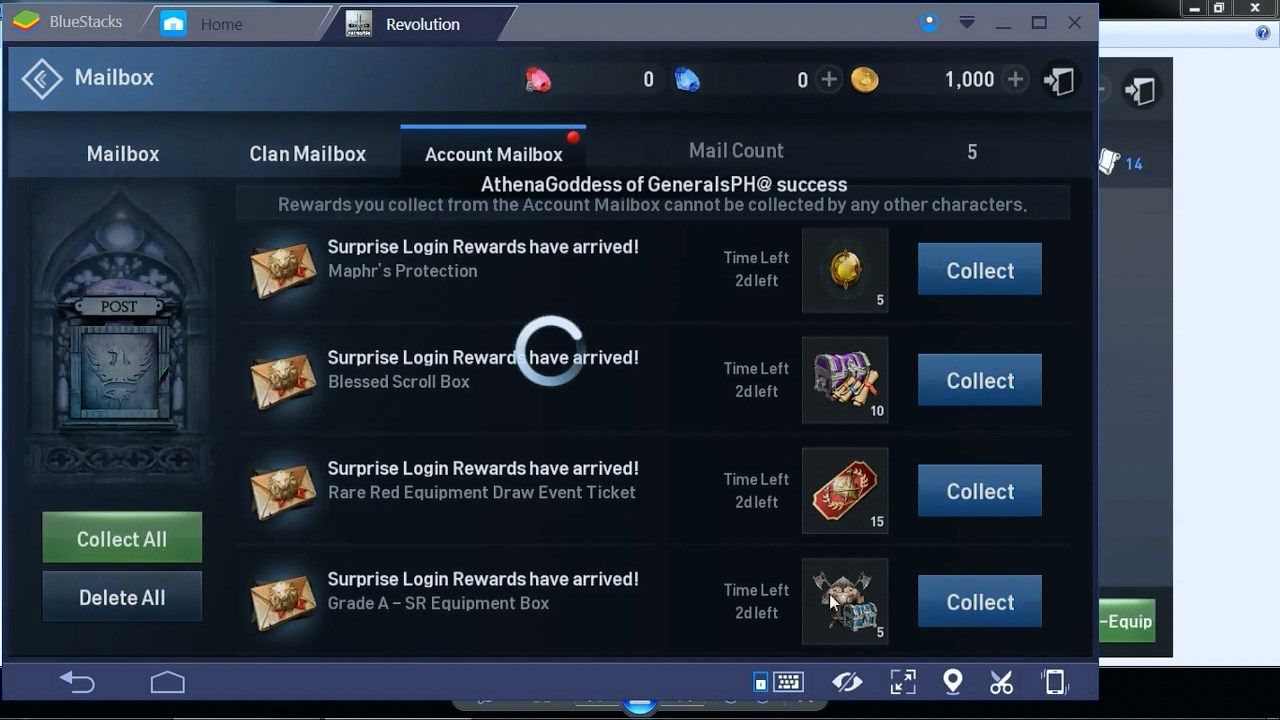 Lineage 2 Revolution Account Mailbox