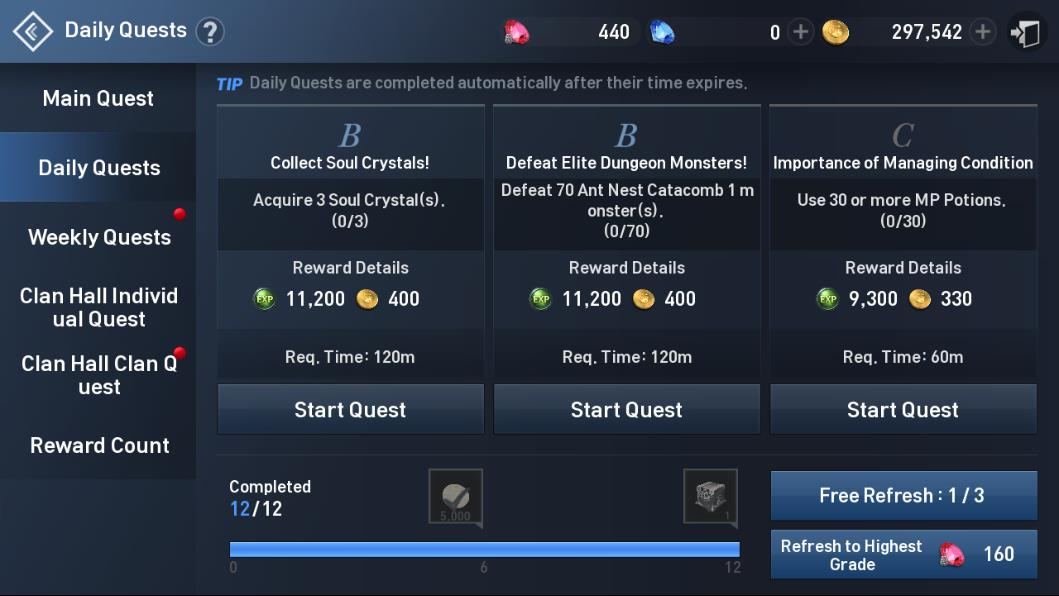 Lineage 2 Revolution Daily Quests