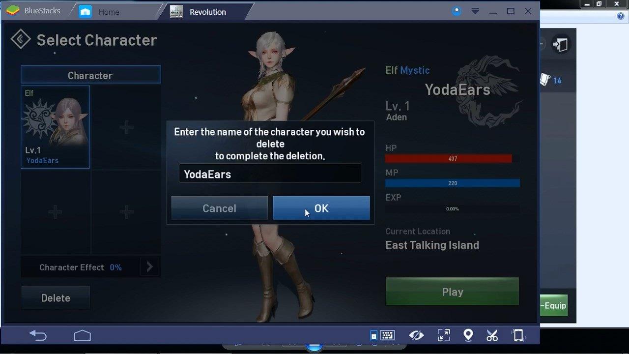 Lineage 2 Revolution Delete Character