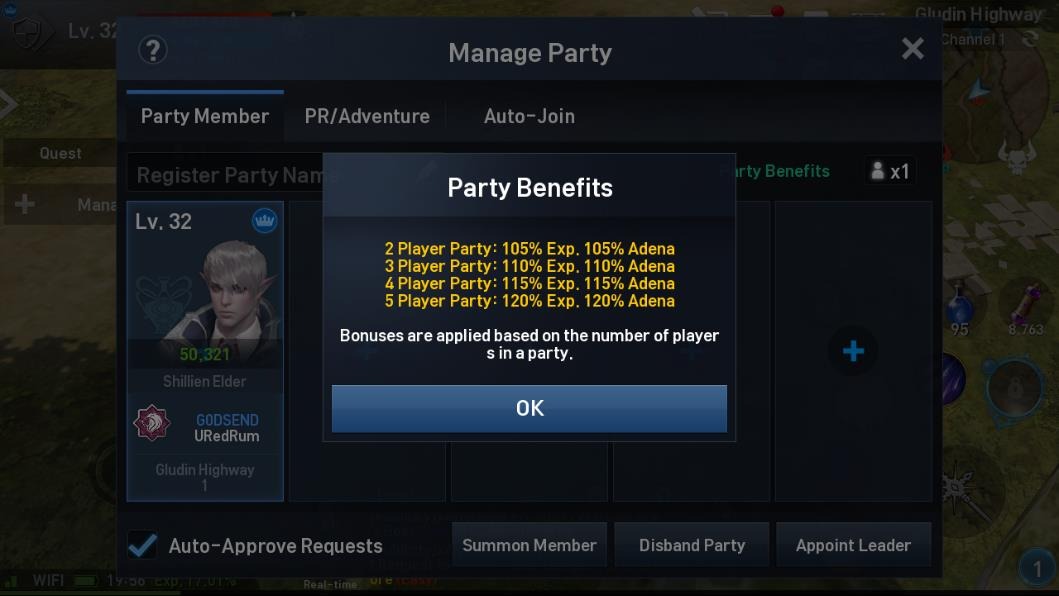 Lineage 2 Revolution Party Screen 1