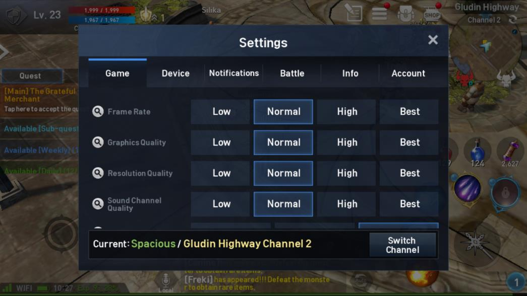 Lineage 2 Revolution Settings Image 1