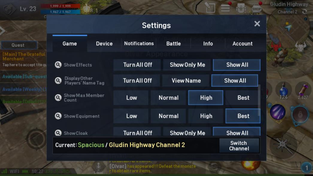 Lineage 2 Revolution Settings Image 2
