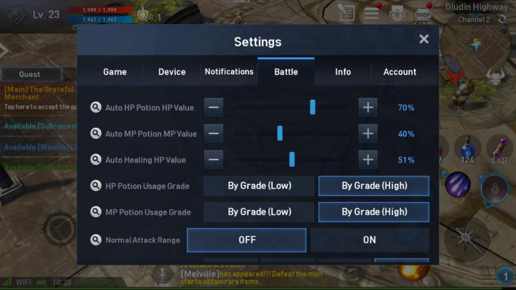 Lineage 2 Revolution Settings Battle Image 1