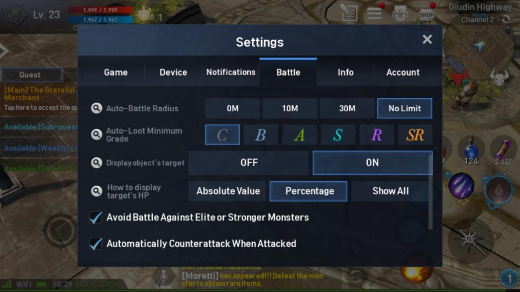 Lineage 2 Revolution Settings Battle Image 2