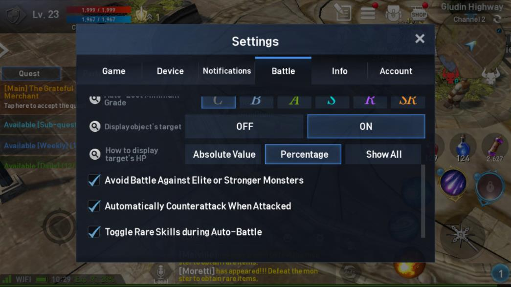 Lineage 2 Revolution Settings Battle Image 3