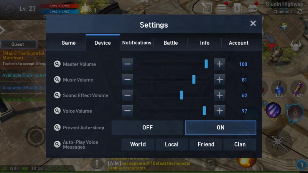 Lineage 2 Revolution Device Settings