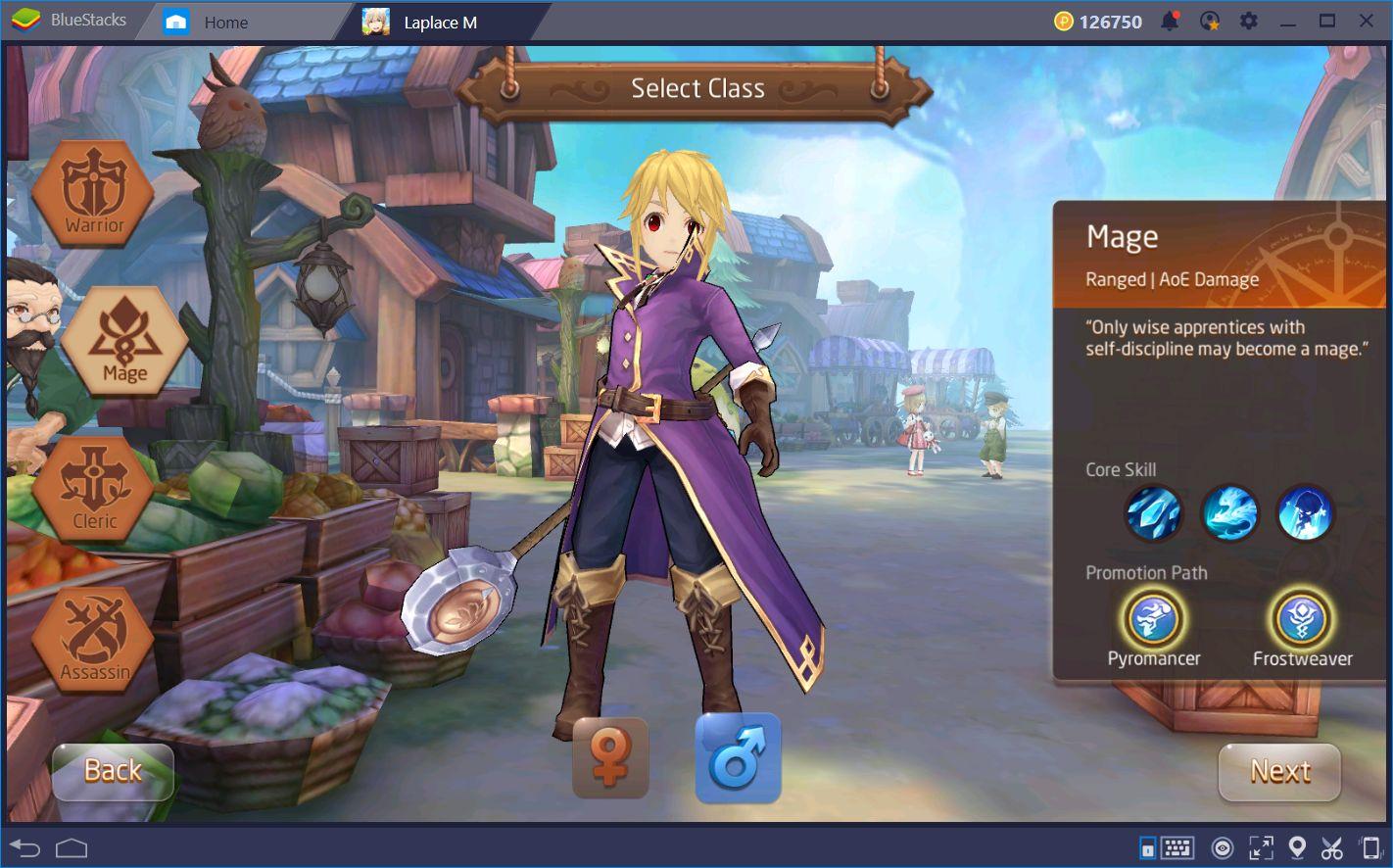Escolhendo a classe certa em Tales of Wind