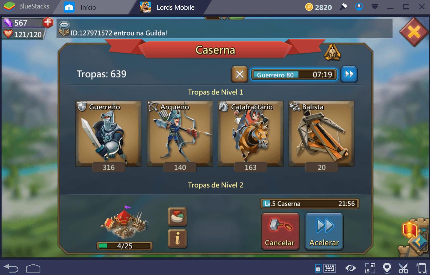 Melhores tropas para atacar e defender em Lords Mobile