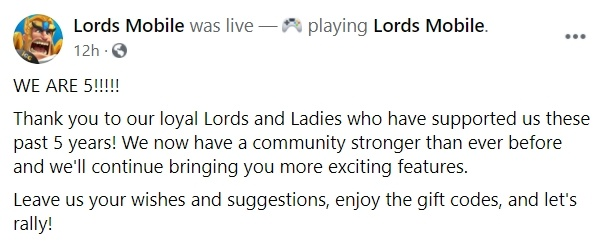 Lords Mobile – New Events and Gift Codes for Everyone as The Title Completes Five Years