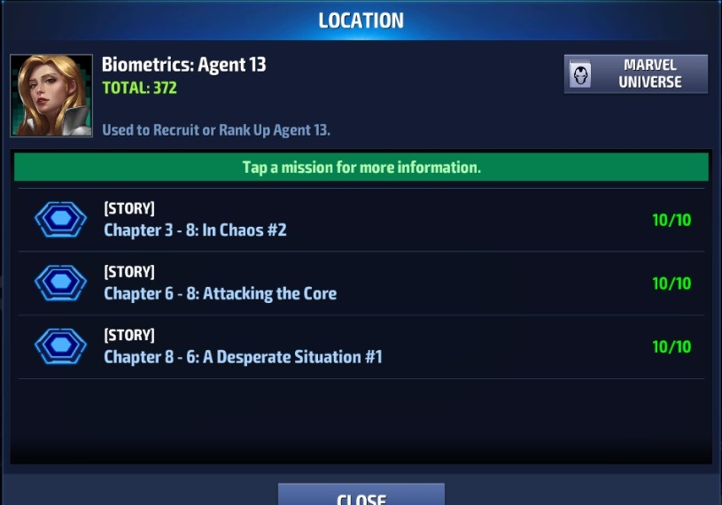 Marvel Future Fight Agent 13 Biometrics